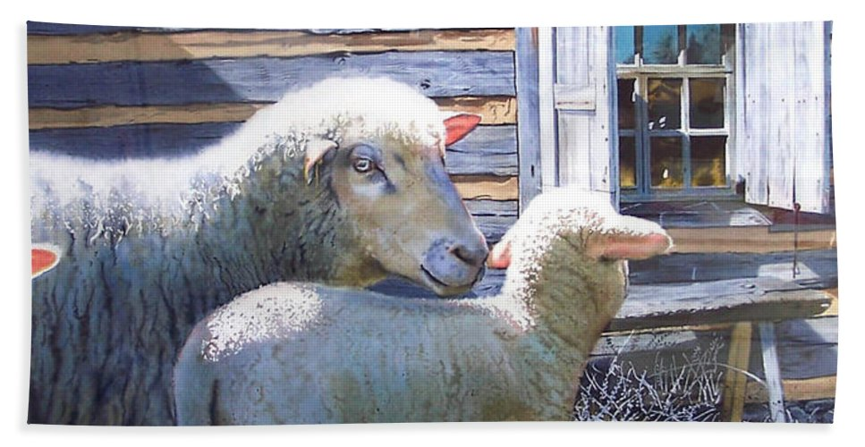 Sheep Bath Sheet featuring the painting Life Renewed by Denny Bond