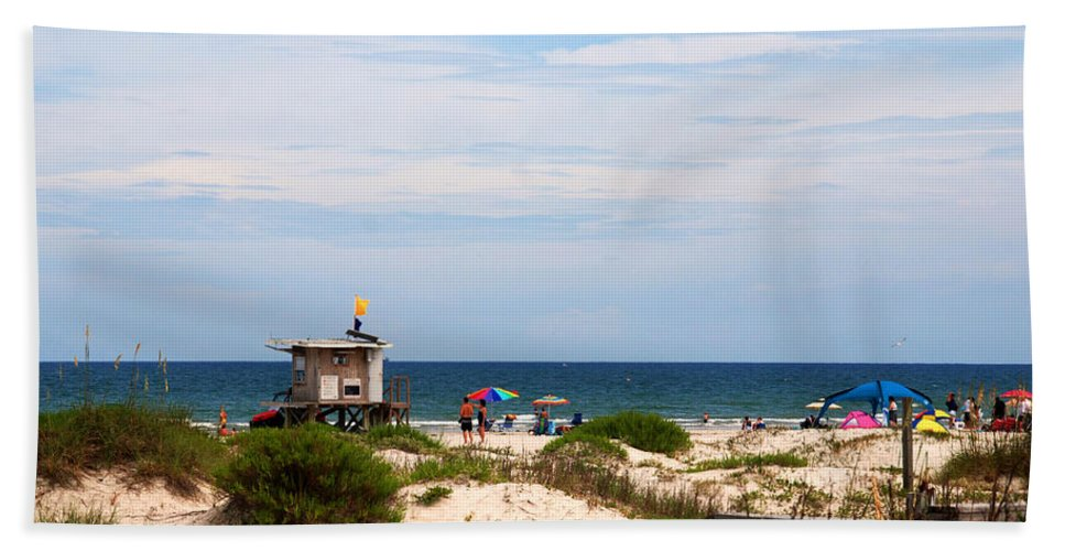 Lifeguard On Duty Hand Towel featuring the photograph Lifeguard On Duty by Susanne Van Hulst