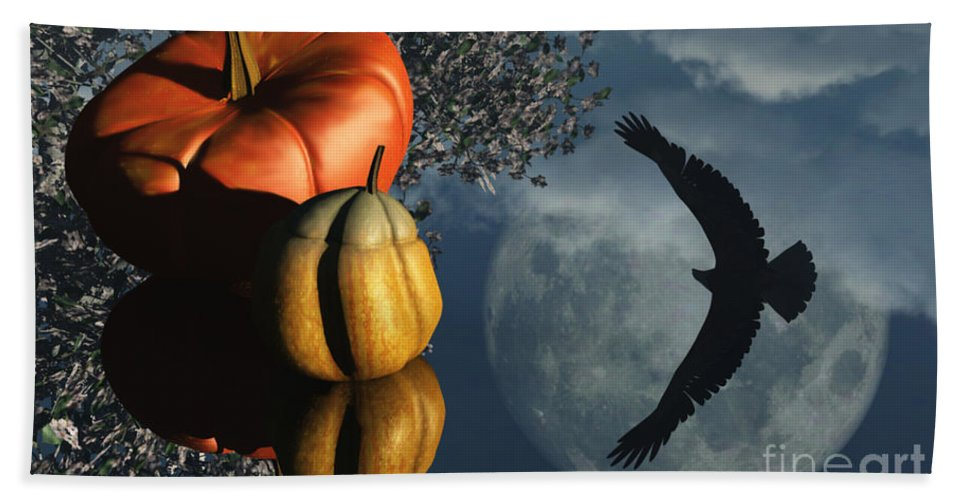 Harvest Moon Bath Sheet featuring the digital art Life's Reflections by Richard Rizzo