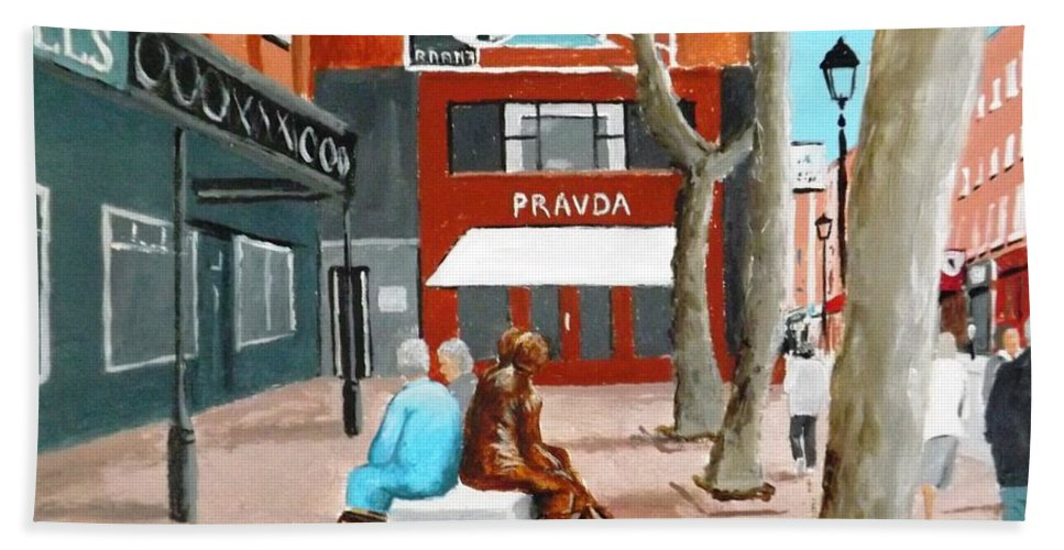 Liffey Street Hand Towel featuring the painting Liffey Street, Dublin by Tony Gunning