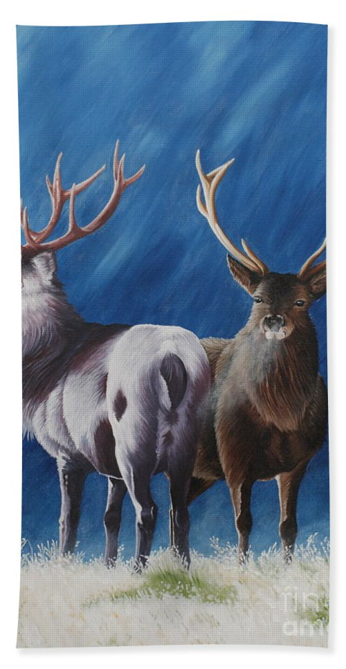 Portrait Bath Towel featuring the painting Light And Dark Stags by Pauline Sharp