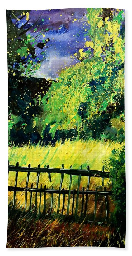 Spring Bath Towel featuring the painting Light Before The Storm by Pol Ledent