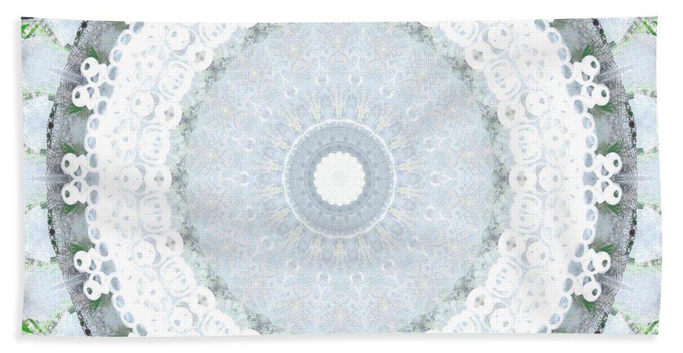 Mandala Hand Towel featuring the mixed media Light Blue Mandala- Art By Linda Woods by Linda Woods
