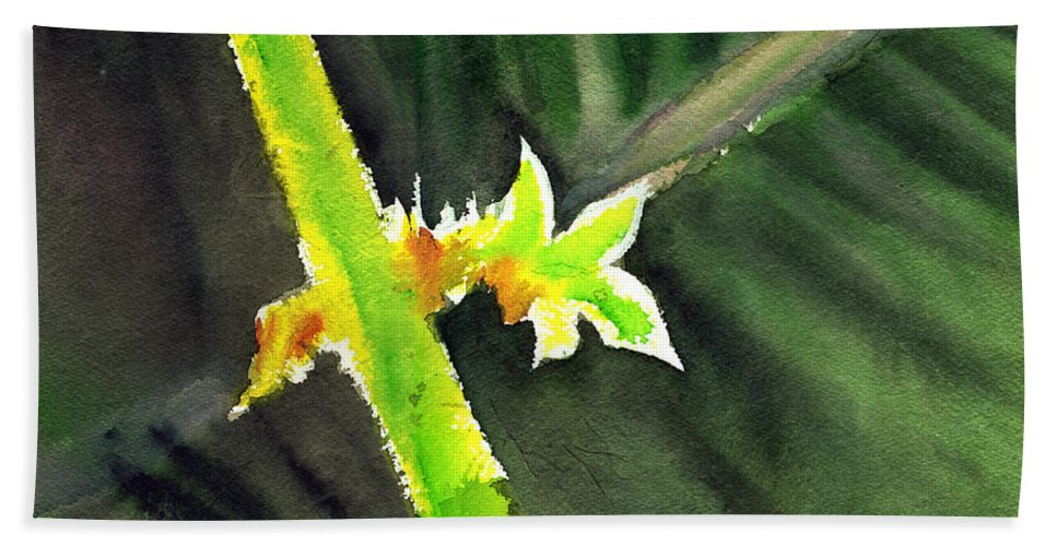 Water Color Bath Towel featuring the painting Light Branch by Anil Nene