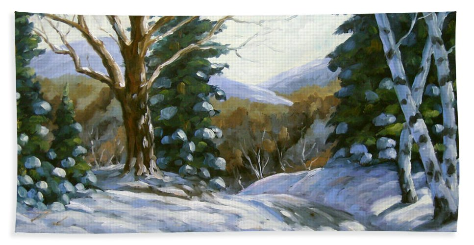 Art Bath Towel featuring the painting Light Breaks Through The Pines by Richard T Pranke