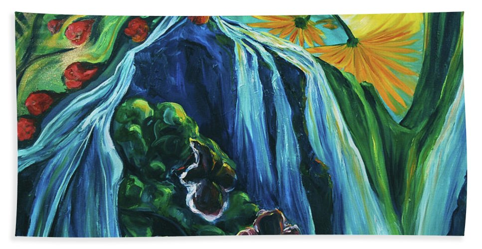 Floral Bath Sheet featuring the painting Light Dawns On A Floating World by Jennifer Christenson