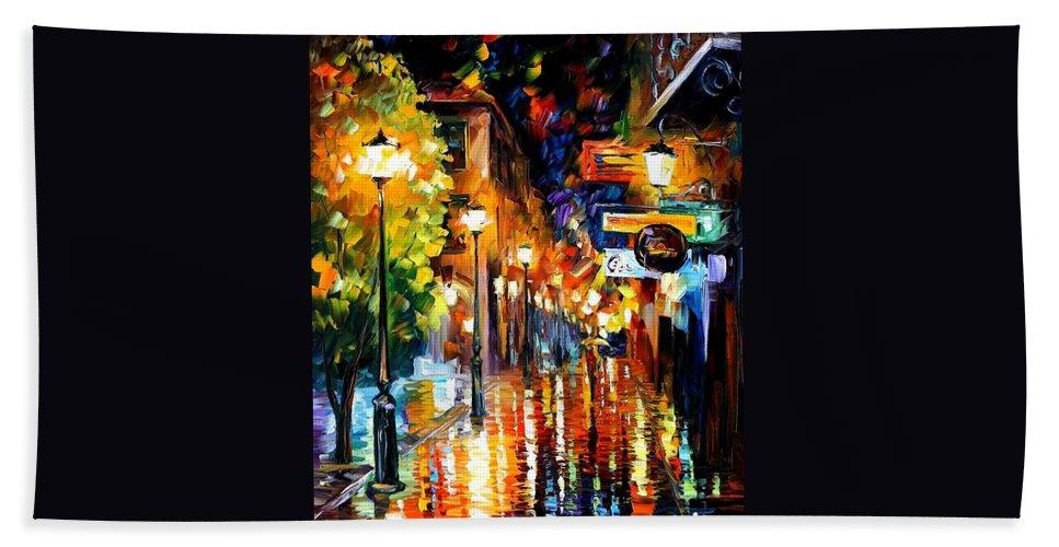 Afremov Bath Sheet featuring the painting Light Fiesta by Leonid Afremov