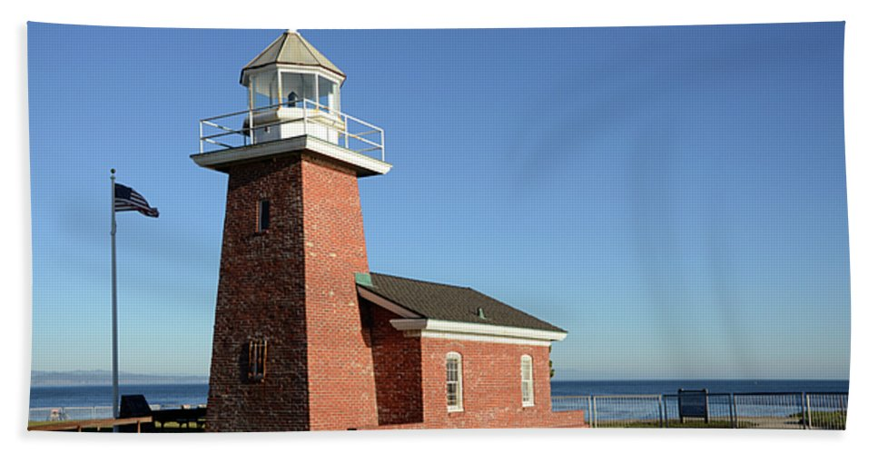 California Bath Sheet featuring the photograph Light House At Santa Cruz by Bob Christopher