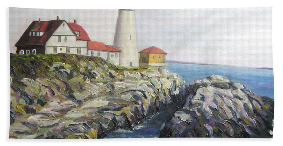 Portland Hand Towel featuring the painting Light House by Richard Nowak