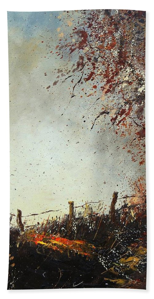Tree Bath Towel featuring the painting Light In Autumn by Pol Ledent