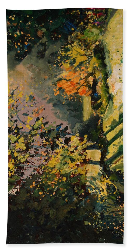 River Bath Towel featuring the painting Light In The Wood by Pol Ledent