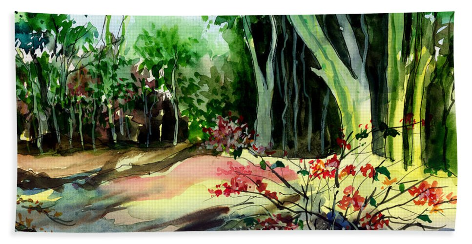 Watercolor Bath Towel featuring the painting Light In The Woods by Anil Nene
