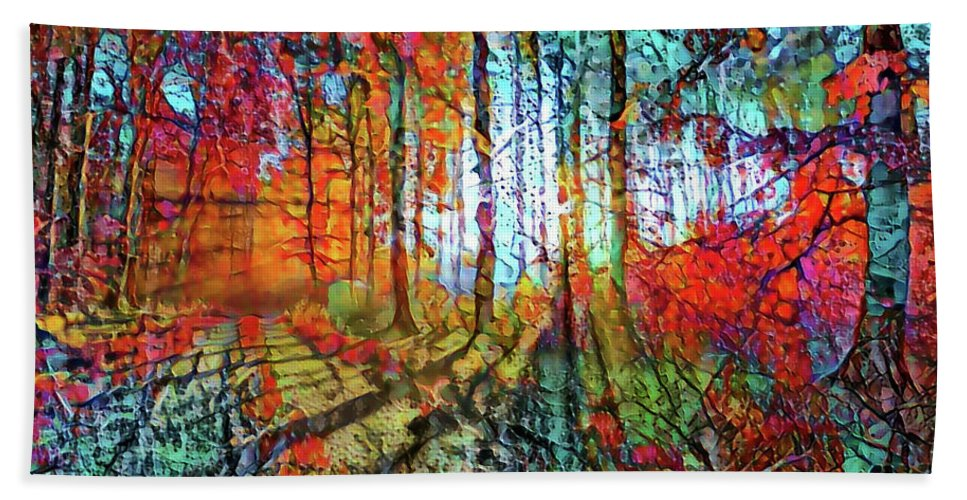 Light Through The Tree Bath Sheet featuring the mixed media Light In The Woods by Lilia D