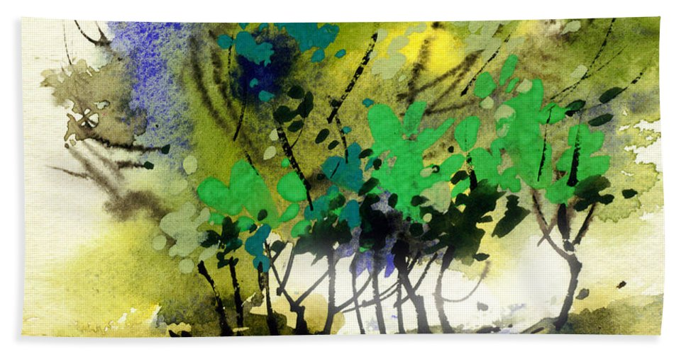 Nature Hand Towel featuring the painting Light In Trees by Anil Nene
