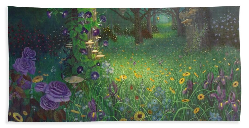 Floral Bath Sheet featuring the painting Light My Way by Shauna Eggleston