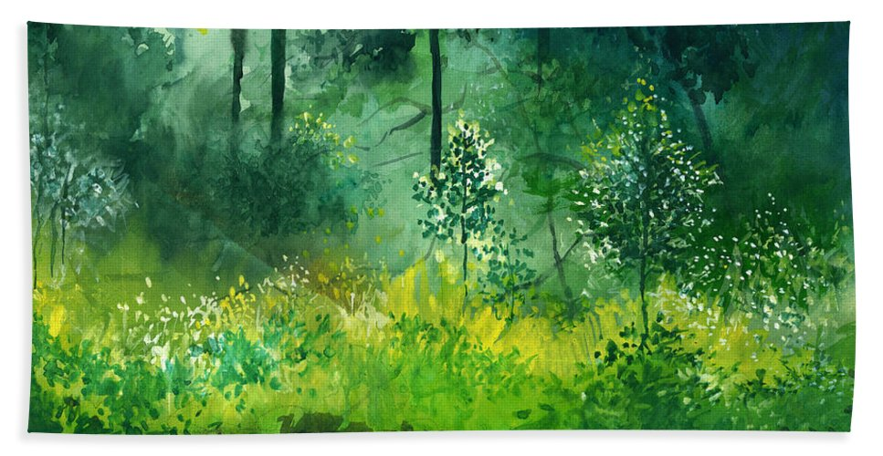 Water Bath Towel featuring the painting Light N Greens by Anil Nene