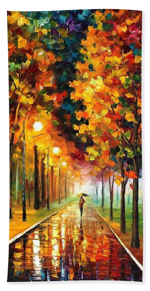 Afremov Bath Sheet featuring the painting Light Of Autumn by Leonid Afremov