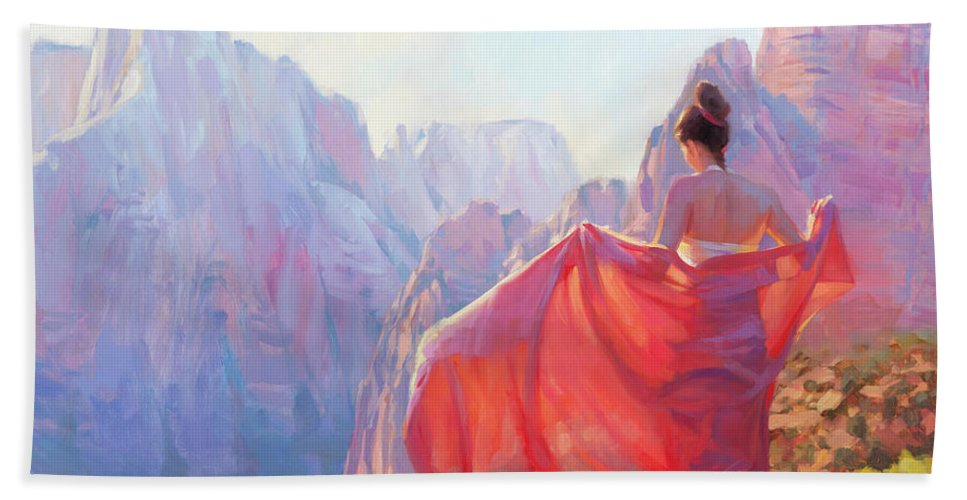 Zion Bath Towel featuring the painting Light of Zion by Steve Henderson