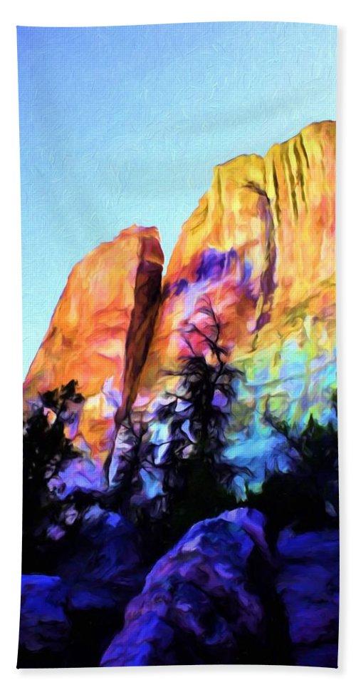 El Moro Bath Sheet featuring the painting Light On Cliffs by Jim Buchanan