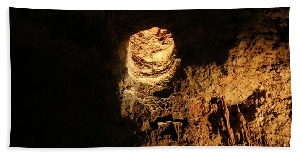 Natural Bath Sheet featuring the photograph Light Peeks Through - Cave by Lynn Michelle