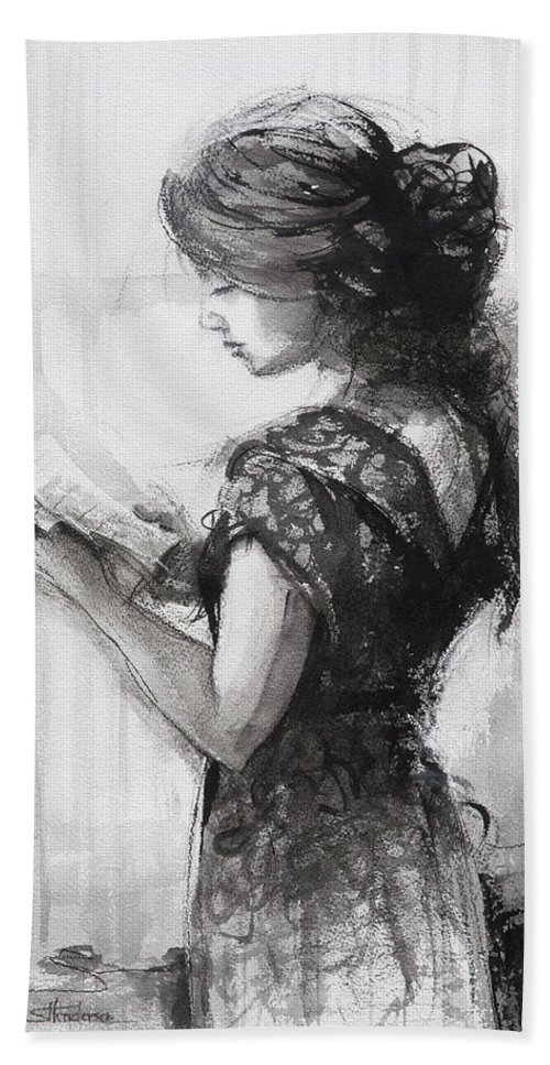 Reading Bath Towel featuring the painting Light Reading by Steve Henderson
