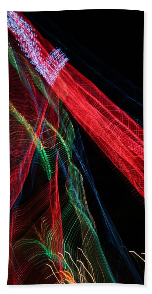Christmas Hand Towel featuring the photograph Light Ribbons by Ric Bascobert