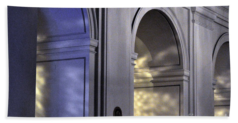 Clay Bath Towel featuring the photograph Light Splattered Arches by Clayton Bruster