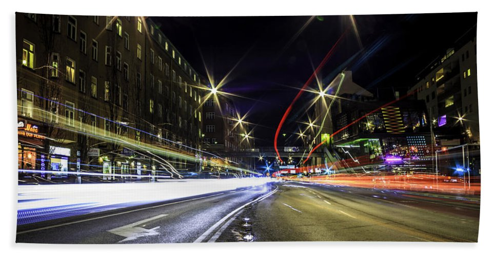 Long Exposure Hand Towel featuring the photograph Light Trails 2 by Nicklas Gustafsson