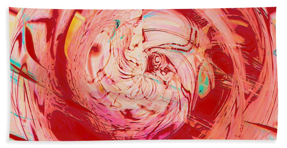 Abstract Art Bath Sheet featuring the digital art Light Waves by Linda Sannuti