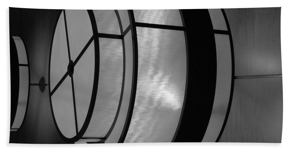 Black And White Bath Towel featuring the photograph Lighted Wall In Black And White by Rob Hans