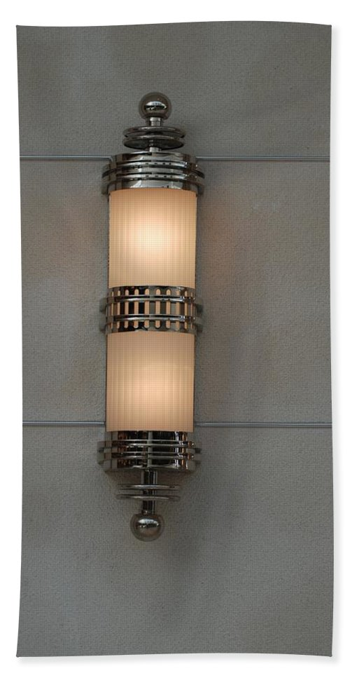 Sconce Bath Sheet featuring the photograph Lighted Wall Sconce by Rob Hans