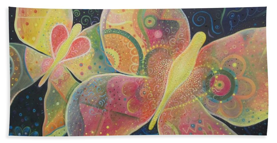 Butterfly Hand Towel featuring the painting Lighthearted by Helena Tiainen