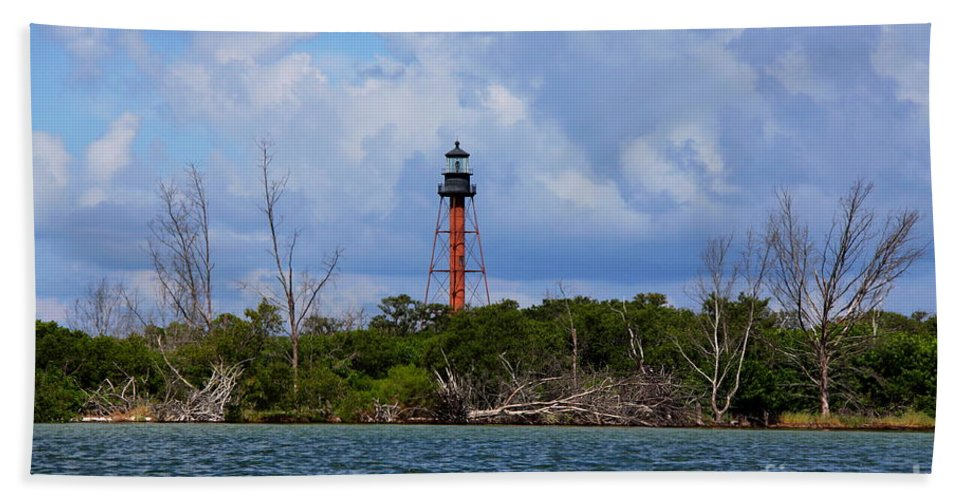 Lighthouse Bath Sheet featuring the photograph Lighthouse At Anclote Key by Barbara Bowen