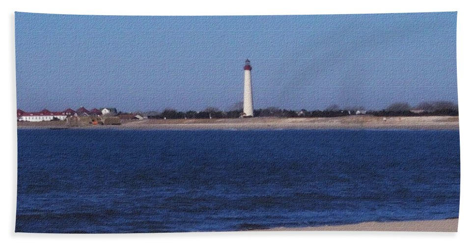 Lighthouse Bath Sheet featuring the photograph Lighthouse At The Point by Pharris Art