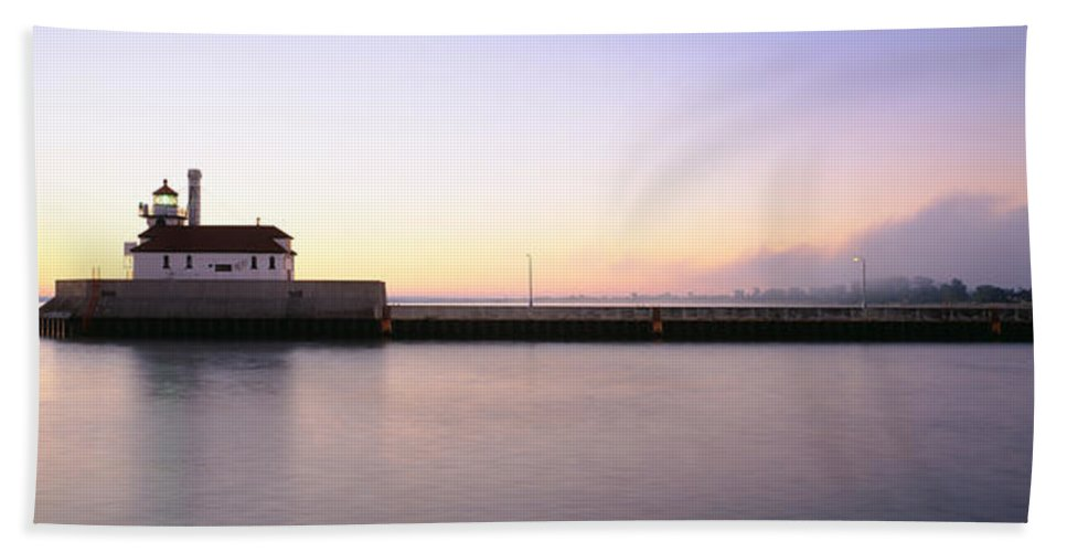 Photography Hand Towel featuring the photograph Lighthouse At The Waterfront, Duluth by Panoramic Images