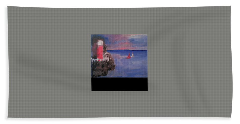 Hand Towel featuring the painting Lighthouse by Bethany Hannigan