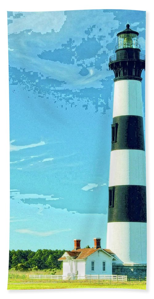 Lighthouse Hand Towel featuring the mixed media Lighthouse Bodie Island by Dominic Piperata