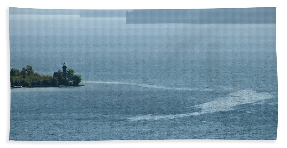 Lighthouse Bath Sheet featuring the photograph Lighthouse In The Bay by David Arment