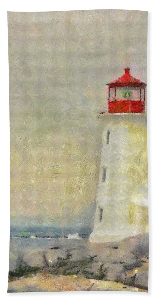 Canadian Hand Towel featuring the painting Lighthouse by Jeffrey Kolker