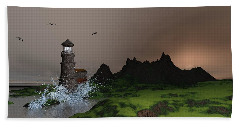 Art Hand Towel featuring the digital art Lighthouse Landscape By John Junek Fine Art Prints And Posters by John Junek