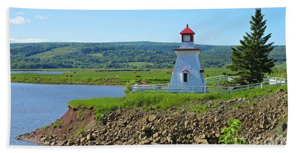 Lighthouse Landscape Bath Sheet featuring the photograph Lighthouse Landscape by Crystal Loppie