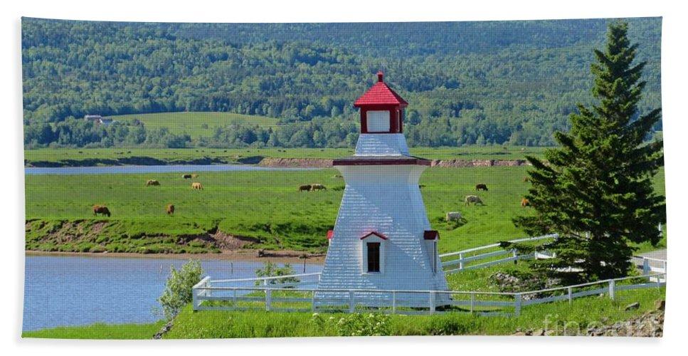 Lighthouse Landscape Bath Sheet featuring the photograph Lighthouse Landscape Three by Crystal Loppie