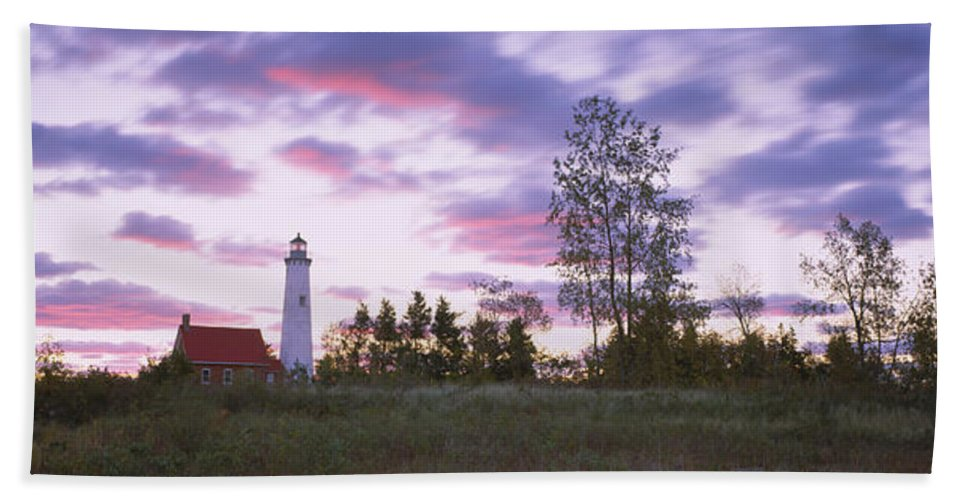 Photography Bath Sheet featuring the photograph Lighthouse On A Landscape, Tawas Point by Panoramic Images