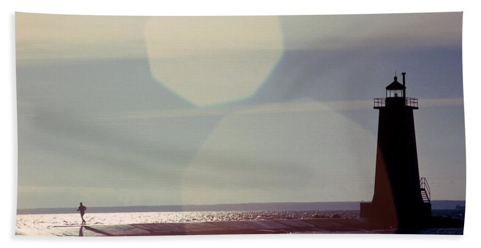 Lighthouse Hand Towel featuring the photograph Lighthouse Run by Jerry McElroy