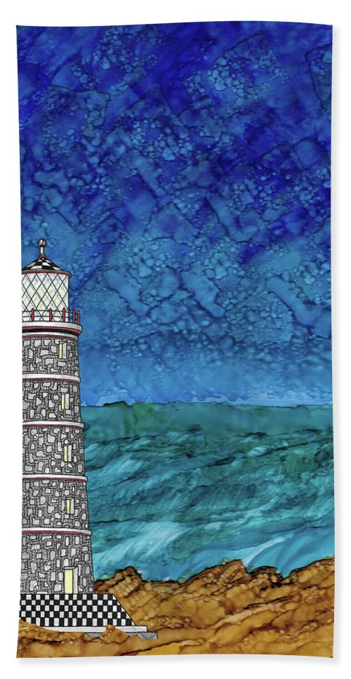 Alcohol Ink Bath Sheet featuring the mixed media Lighthouse by Stacie Dowdy
