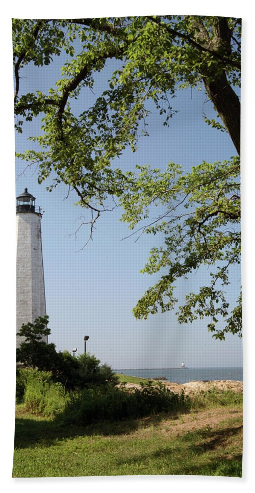 Lighthouse Bath Sheet featuring the photograph Lighthouse Summer by Karol Livote