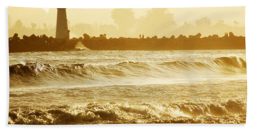 Lighthouse Hand Towel featuring the photograph Lighthouse Sunset by Marilyn Hunt