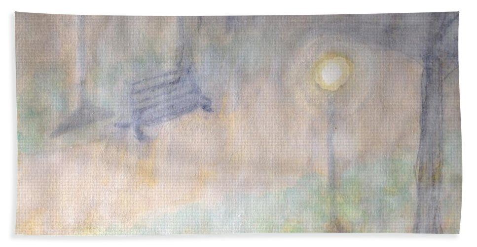 Watercolor Park Hand Towel featuring the painting Lighting The Way by Sticky Friends