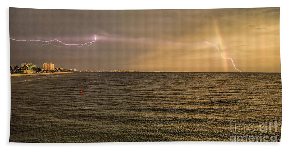 Photographs Hand Towel featuring the photograph Lightning And Rainbow, Fort Myers Beach, Fl by Felix Lai
