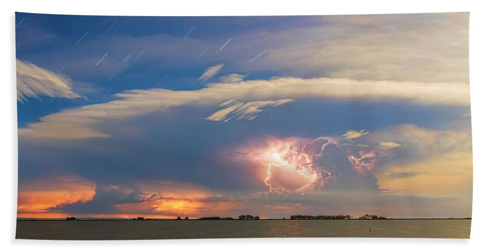 Storm Hand Towel featuring the photograph Lightning At Sunset With Star Trails by James BO Insogna